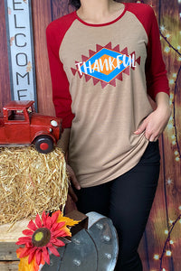 HX5958 Multi-color ''Thankful'' graphic 3/4 sleeve t-shirt