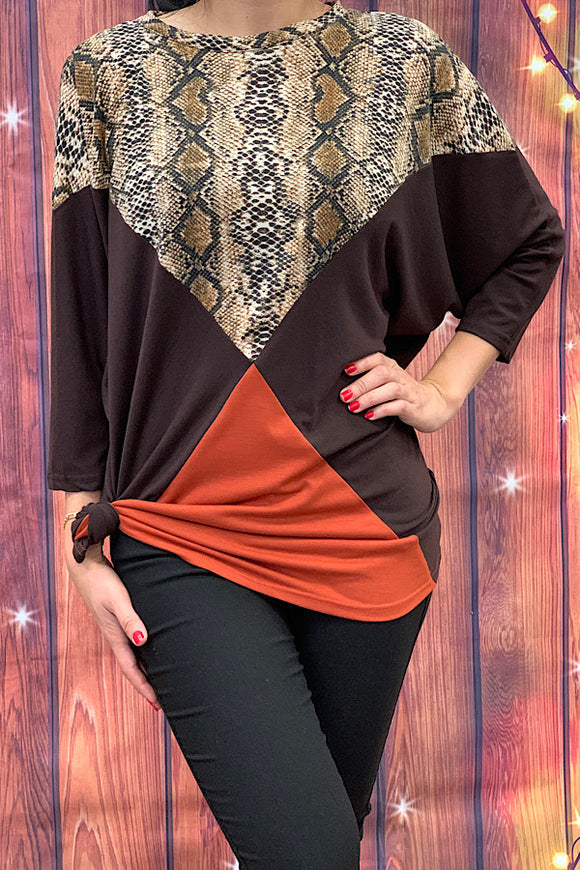 GJQ5987 Tri-color snake print 3/4 sleeve top