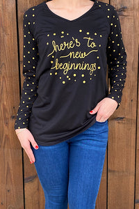 HX5992 ''Here to new beginnings'' graphic long sleeve top