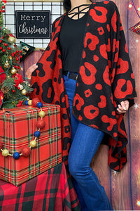 SL6007 Red and black reversible leopard print blanket poncho