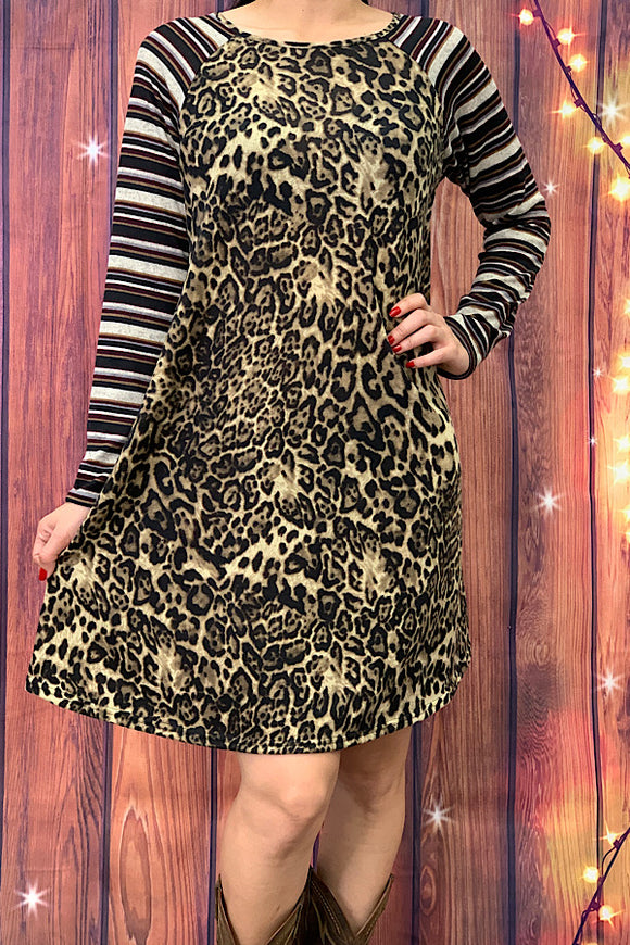 YMY6124 Leopard print dress w/ multicolor striped long sleeves