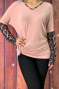GJQ6144 Pink top w/ leopard print sleeves and criss cross in the back