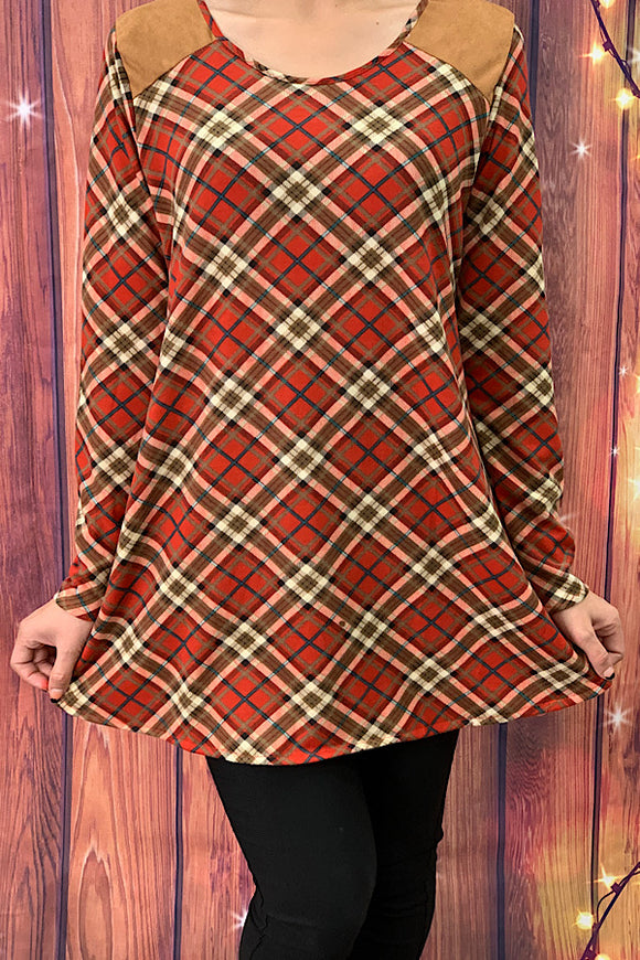 FW6170 Long sleeve plaid top w / shoulder & elbow patches