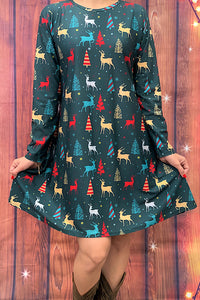 DLH6290  Green teal dress w/pockets multi color reindeer and christmas tree print