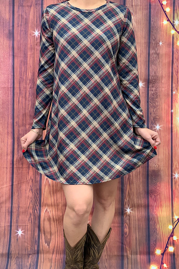 HX6413 Brown plaid dress w elbow patches