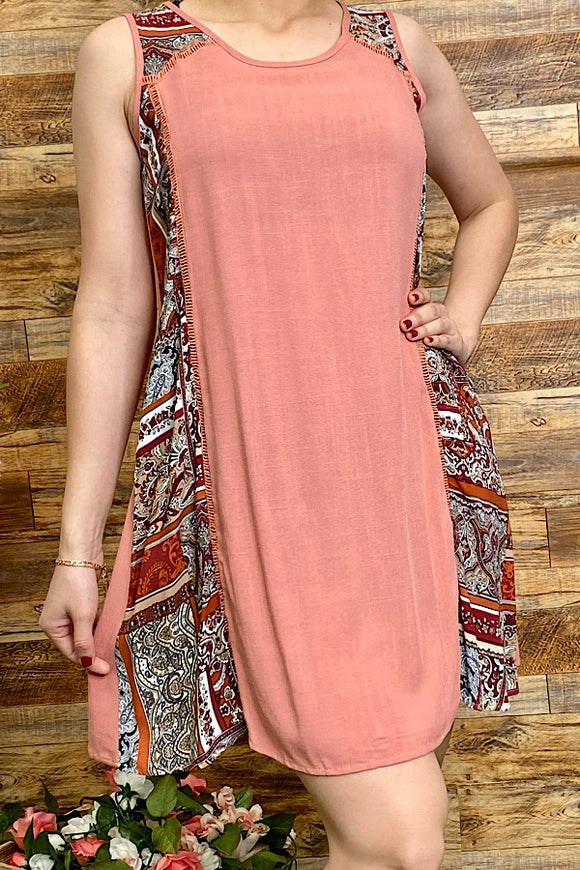 SD7019 Multi pattern sleeveless tunic