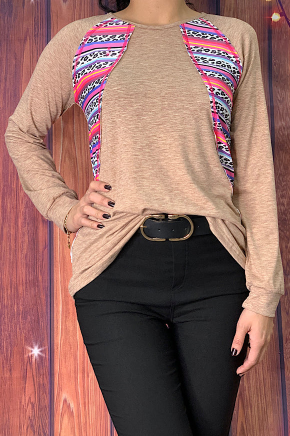 DLH7371 Camel color long sleeve top w/multi-color striped leopard printed patches