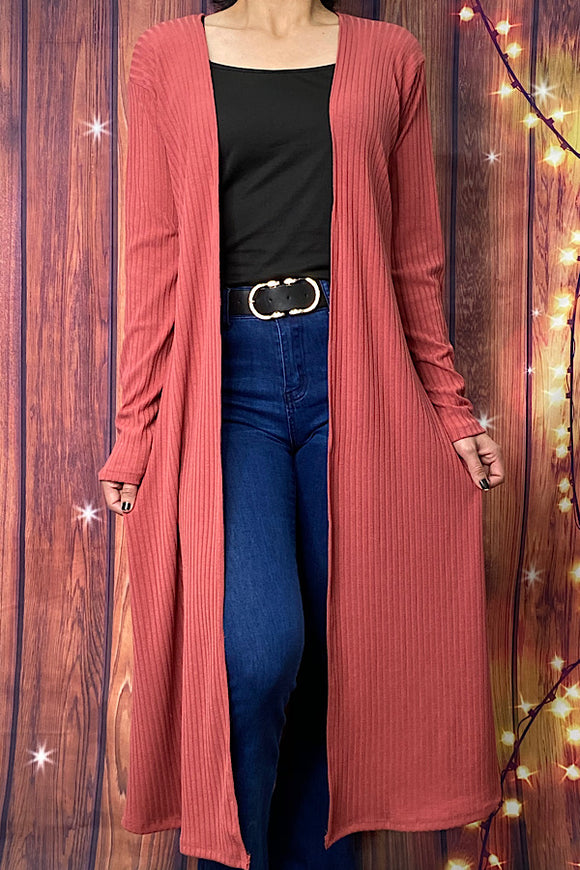 FW7398-1 Pink rust long body cardigan