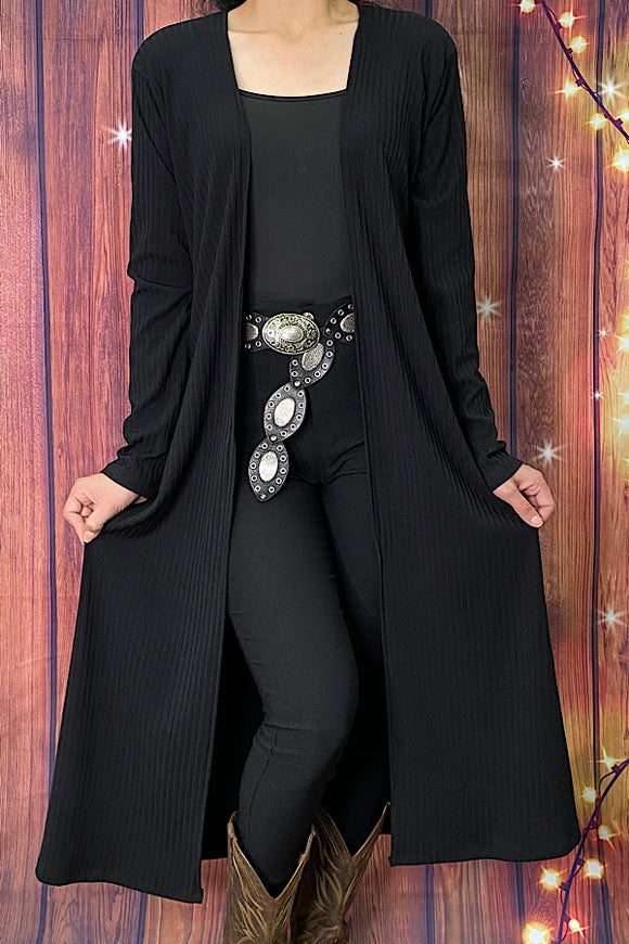 FW7398 Solid black long body cardigan