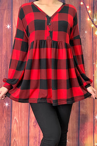 GJQ7435 Buffalo plaid long sleeve baby doll top