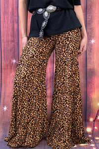 YMY7469 Leopard printed ruffle bell bottoms (Not stretchy material Rayon)