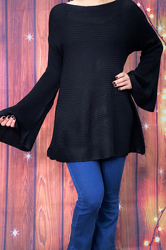 AL7486 Solid black knitted sweaters w/bell sleeves