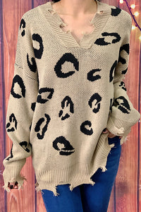 AL7491 Tan leopard printed distressed  knitted sweater