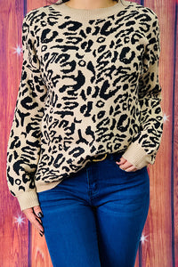 AL7496 Brown leopard printed sweater