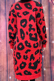 AL7500 Red leopard printed knitted cardigan w/pockets