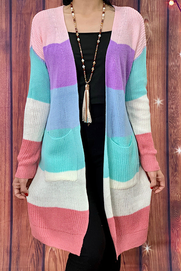 AL7501 Multi-color block knitted cardigan