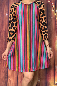 FW7548 Multi-color serape printed dress w/leopard sleeves