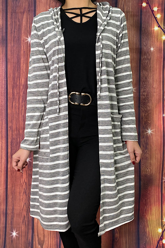 YMY7576 Grey & white striped long body cardigan w/hoodie