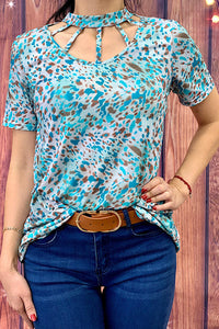 GJQ7738 Leopard Turquoise short sleeve top