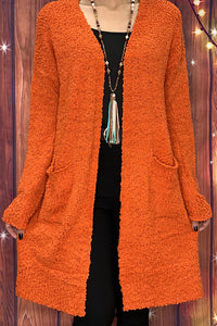 LW7841 Orange popcorn cardigan w/pockets