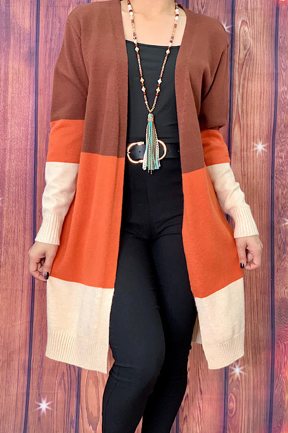 LW7846 Rust color block long body cardigan