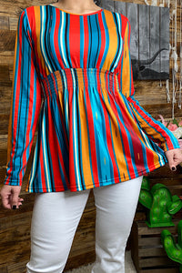 GJQ7915 Multi color long sleeve baby doll top