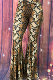 YMY7950 Snake skin printed bell bottoms