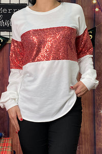 FW7969 White pullover w red sequin block