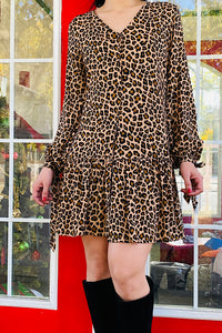 GJQ7981 Leopard printed dress w tie bubble sleeves