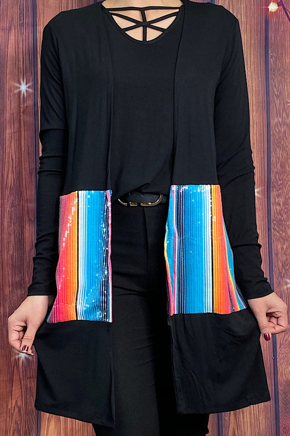 FW8050-2 Black/serape sequin color block cardigan w/pockets