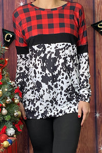 BQ8086 Buffalo plaid/cow spot printed top
