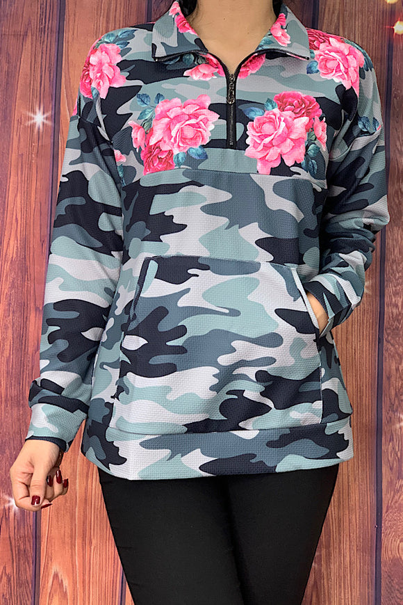 GJQ8091 Camo/floral printed zipper pullover w/front pocket