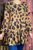 GJQ8129 Leopard printed baby doll tunic w bubble sleeves