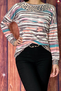 GJQ8145 Multi-color /leopard printed long sleeve top