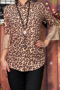 GJQ8146 Leopard printed button down blouse w 3/4 sequin sleeves