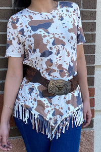 GJQ8153 Cow printed short sleeve top w/fringe trim