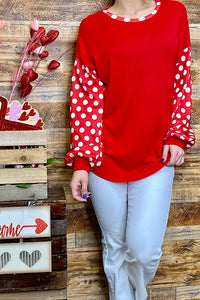 BQ8208 Red blouse w/ white polka dot sleeves