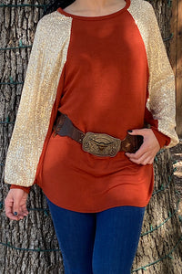 FW7945 Rust orange top w/sequin bubble sleeves