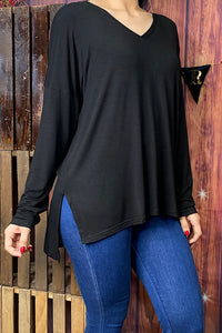 GJQ8268-3 Solid Black long sleeve top w open side