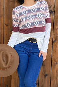 BQ8291 Aztec color block long sleeve top
