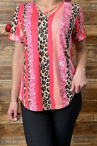 GJQ8303 Pink leopard printed short sleeve top w/criss cross neckline