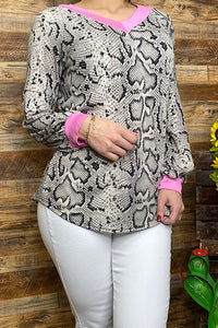 YMY8431 Snake skin printed long sleeve top w/pink v neck & sleeves