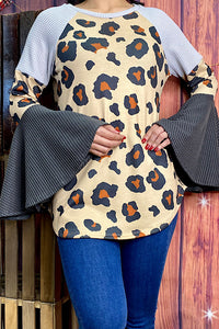 FW8438 Leopard color block blouse w/bell sleeves