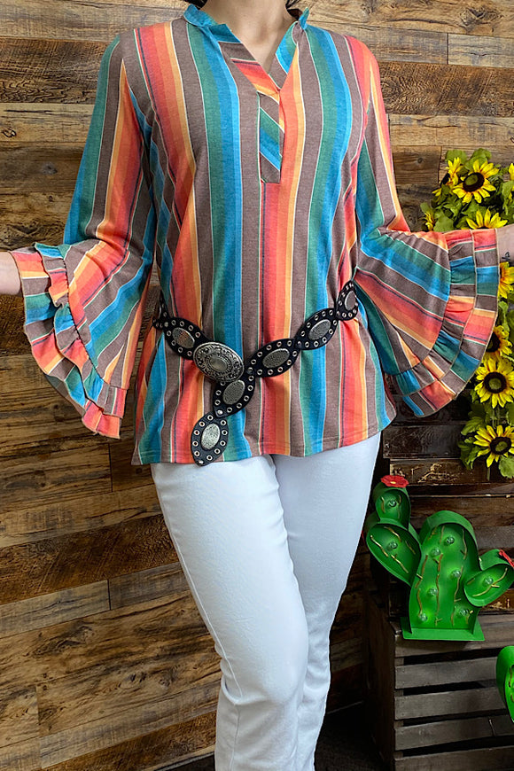 GJQ8562 Multi-color serape v-neck top w/ 3/4 ruffle sleeves