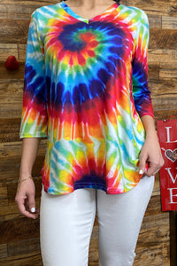 BQ8573 Multi color tie dye 3/4 sleeve top
