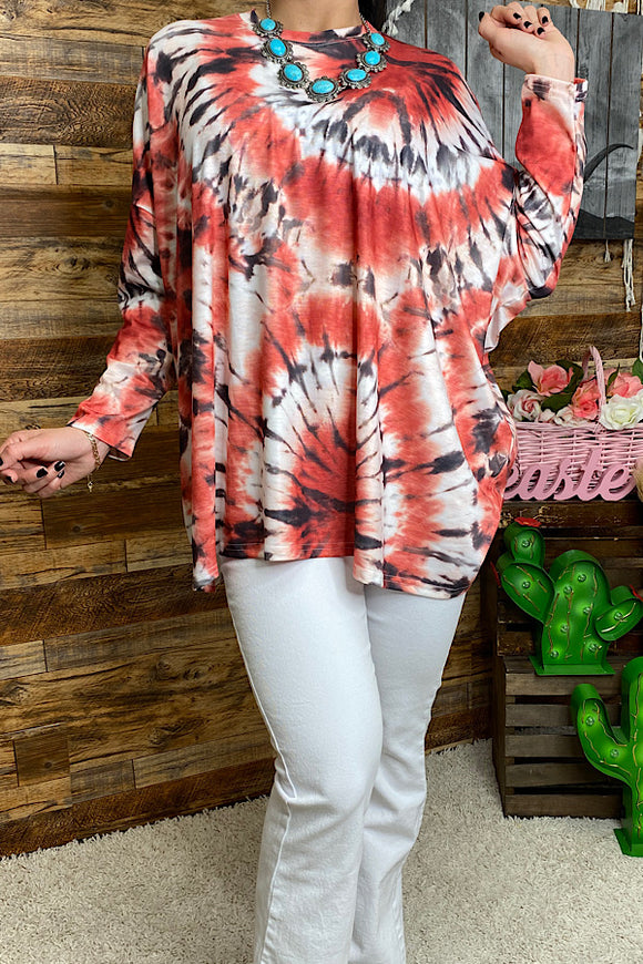 SP8755  Tie dye oversize long sleeve top