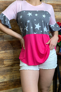 FW8841Pink/stars color block top w/short ruffle sleeves