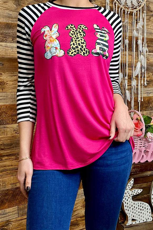 DLH8882 Three bunny fuchsia printed top w/striped sleeves