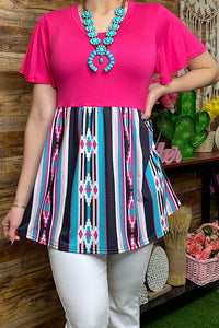 YMY8895 Fuchsia Aztec printed baby doll top