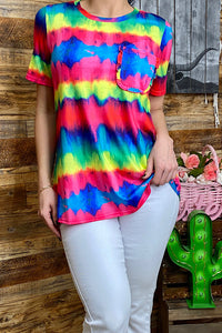 YMY8900 Multi color tie dye short sleeve top w/front pocket